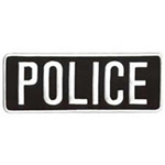 Hero's Pride POLICE - White on Black - Back Patch - 11 x 4