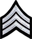 Hero's Pride Chevron - SGT - 3 Wide - White on Black