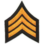Hero's Pride Chevron - SGT - 3 Wide - Dk. Gold on Black