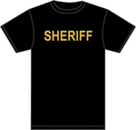 Premier Emblem Gold Sheriff on Black 100% Cotton T-Shirt