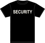 Premier Emblem White Security on Black 100% Cotton T-Shirt