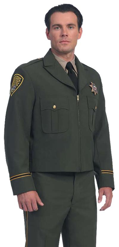 United Uniform LAPD Navy Zipper Front Ike Jacket (Green Shown)